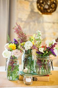 Mason Jar Center Pieces + wildflowers