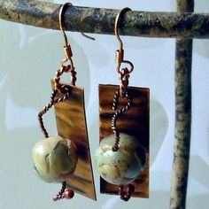 Earth Bead and Copper Earrings