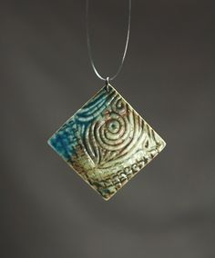 Handmade ceramic jewelry turquiose and green ceramic by baghyadiss, $35.00