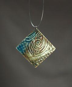 Handmade ceramic jewelry turquiose and green ceramic by baghyadiss, $35.00