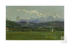 The Alps, Small Mountain Chain Giclee Print by Frank Buchser at Art.com