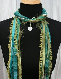 Live Laugh Love Charm Ribbon Necklace Scarf by FiberArtAccents