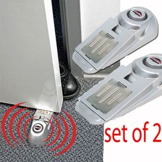 X2 Door Stop Wireless Alarm Home Travel Security System Portable Safety Wedge Set of 2 Security Door Stop Alarms Dual-Auction Alarm & Door Stop Very Loud 90 Decibel Alarm Sound!! Easily and affordable