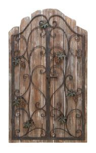 Reclaimed wood picket fence wall decor with an iron gate overlay. Product: Wall décorConstruction Material: Iron and woodColor: Distressed naturalDimensions: H x W x D Metal Walls, Wood And Metal, Metal Art, Metal Shutters, Indoor Shutters, Wrought Iron Decor, Wrought Iron Fences, Wood Picket Fence, Iron Furniture