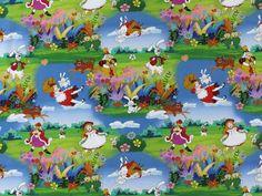 Exklusiv Baumwolljersey Alice auf der Märchenwiese, LZ-AL-05,  bei stoffe-hemmers.de, Kennen Sie sie noch? Die Figuren Ihrer Jugend? Tauchen Sie ein mit Alice