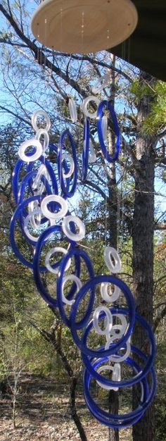 GLASS WINDCHIMES from RECYCLED Wine bottles, eco friendly, green, garden decor, mobiles, windchimes, glass wind chimes, glass