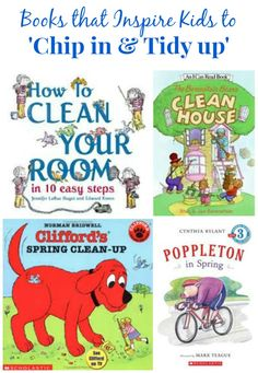 Fun books that encourage kids to help with spring cleaning + age-appropriate list of jobs they can do too!