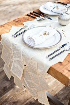 Old book pages as table runner....this is a must!!!!!