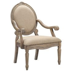 Brentwood Oval Back Exposed Wood Arm Chair - Linen
