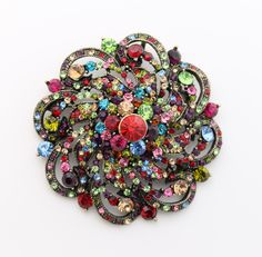 Brooch Pin. Large Beautiful Round Crystal Broach by CacheAvenue, $42.00