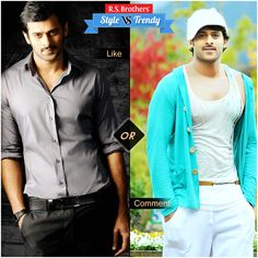 """#Style vs #Trendy #Handsome & Stylish South Indian Actor  #Prabhas in complete Formals with smart Look & in Trendy Funky Style.  Which Outfit suits him best & looks Awesome? Present your interest in """"Like"""" for Formals or """"Comment"""" for Casuals…. (Image copyrights belong to their respective owners)"""