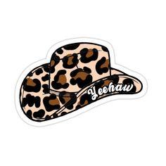 Yeehaw Cheetah Cowboy Hat Sticker by sunsetriverside