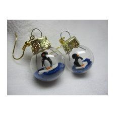 Pinguin - Weihnachtskugel Ohrringe