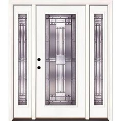 Feather River Doors Preston Patina Full Lite Primed Smooth Fiberglass Entry Door with Sidelites-643105-3A4 at The Home Depot
