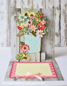 The Dining Room Drawers: Tim Holtz Distress Ink & Sizzix Funky Floral (Karen Burniston Cupcake) Pop-Up Birthday Card