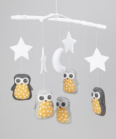 Take a look at this Gray & Yellow Polka Dot Star Owl Mobile by FoxFluff on #zulily today!