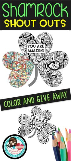 Students will stay engaged and stress free as they color these zen doodle shamrock shout outs. Spread positive messages around your school to boost school morale! Blank templates are also included to hand write a kind message on the shamrock and post it on a teacher's door/desk, admin office door, student desk, student locker, or anywhere else you'd like to hide this sweet surprise.