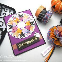 washi tape wreath card and pon-pon flower tag. Washi Tape Cards, Masking Tape, Arts And Crafts, Paper Crafts, Message Card, Fall Cards, Halloween Cards, Card Tags, Making Ideas