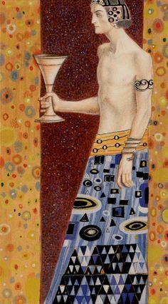 Page of Cups - Goldenes Klimt Tarot