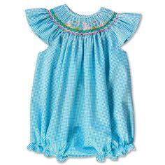 Dancing Bunny Turquoise Gingham Seersucker Angel Sleeve Girl Smocked Bubble 16SP 5819BUGTQ