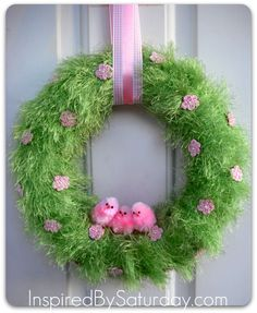 Image detail for -fun fur wreath green Easter #easter