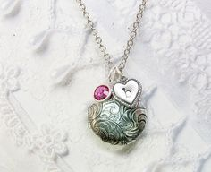 Silver Locket Necklace  Personalized Birthstone by birdzNbeez