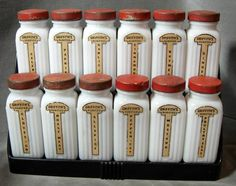 "Griffith's Vintage Milk Glass Spice Jars in Rack ~ from ""Fenwood Studio"" shop"