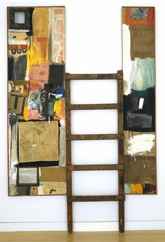 Winter Pool, 1959 Robert Rauschenberg (American, 1925–2008) Combine painting: oil, paper, fabric, wood, metal, sandpaper, tape, printed paper, printed reproductions, handheld bellows, and found painting, on two canvases, with ladder