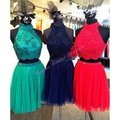2016 New Two Pieces Homecoming Dresses With High Neck Major Beading Tulle Short Prom Gowns Custom Made In Hunter Navy Red Real Photos Homecoming Dresses Short Juniors Dress From Nicedressonline, $184.3| Dhgate.Com