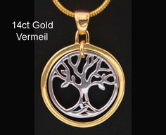 Stunning 14ct Gold and 925 Silver Vermeil Tree of Life Necklace by MyTreeOfLifeJewelry - available at www.treeoflifejewellery.com.au, www.etsy.com/shop/MyTreeOfLifeJewelry and www.treeoflifejewellery.com #treeoflifenecklace #treeoflifependant #treeoflife #treeoflifejewelry #jewelry #necklace #pendant