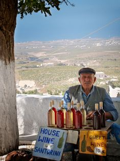 Wine for sale on the side of the road outside of the village of Pyrgos, Greece this is beautiful. i want to live here and sell wine on the street