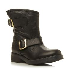 STEVE MADDEN MSFRESH SM - Buckle Detail Leather Biker Boot - black | Dune Shoes Online