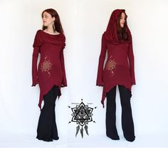hooded tunic dress. Cowl neck tunic. Hooded pullover. Pixie tunic. Hoodie. Elven clothing. Sacred Geometry