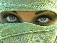 Green is beautiful - beauty, green, green eyes, veiled face, woman