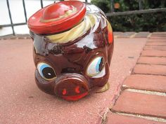Vintage Brown and Gold Piggy Bank with Awesome Hat by feathermar, $18.00