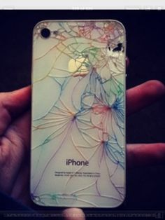I guess cracking the back of your iPhone isnt so bad after all.. (: just take washable crayola markers and color over the cracks(: