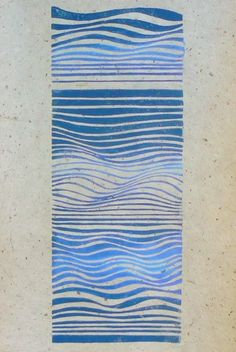 Waves linocut relief print by StripedPebble on Etsy, £14.00