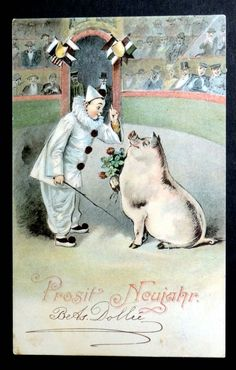 New Year Postcard 1904 PIERROT w/ TRAINED PIG IN CIRCUS RING | eBay