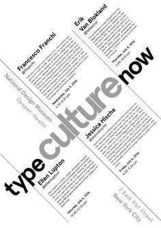 BOZZA 3 GERARCHIA:1–Type Culture Now 2–Chi 3–Dove 4–Quando 5–Descrizioni (Ho utilizzato il font Aperçu e giocato con diversi allineamenti su linee oblique, facendo in modo che qualsiasi elemento (linea o blocco di testo) sia allineato e in equilibrio con gli altri)