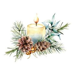 holiday illustration Watercolor Christmas candle with holiday decor. Hand painted floral composition with eucalyptus leaves, bells, pine cones and berries isolated on white background. Botanical illustration for design Stock Photo , Watercolor Christmas Cards, Christmas Drawing, Diy Christmas Cards, Christmas Paintings, Watercolor Cards, Christmas Art, Christmas Themes, Watercolor Flowers, Vintage Christmas