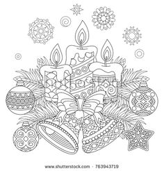 Christmas coloring page. Freehand sketch drawing for 2018 Happy New Year greeting card or adult antistress coloring book. Tree Coloring Page, Coloring Book Pages, Christmas Colors, Christmas Art, Vintage Christmas, Christmas Candle, Christmas Ornaments, Beautiful Christmas, Printable Adult Coloring Pages