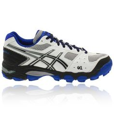 hot sale online 7d16a 06a8a Asics Gel-Negroheath 4 Mujer Hockey Zapatillas Blanco Negro Azul QfqWL 1
