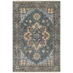 World Menagerie Edwards Hand-Knotted Dark Green/Bright Blue Area Rug Rug Size: 9' x 13'