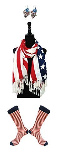 CLEARANCE SALE 2 Pack Off White Warm Knit Wide Fashion Patriotic American Flag Infinity Scarf & Sock Set Women Unique Last Minute Great Back to School Supplies Accessories Gift Idea Army Wife Mother at Amazon Women's Clothing store: