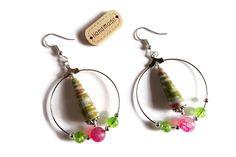 Boucles d'Oreilles Créoles - Perles en Papier - Perles en Verre - Pierres Naturelles - Vertes Roses Fuchsias