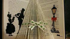 Folded book art victorian christmas tree cream holly ribbon shelf decoration. | eBay