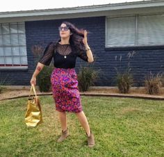 Comedian & MTV Girl Code writer @Giulia Rozzi sporting the Roberto Cavalli tote & vintage silk skirt she scored at the Austin #Goodwill for $16 total