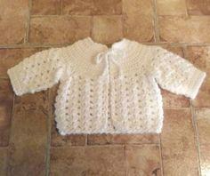 Crochet Baby Girl Sweater  white  newborn  ready by crochetmyway