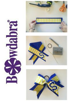 Cheer Bow Tutorial with Mini Bowdabra DIY how to make an Embellished cheer bow for your cheerleaders.DIY how to make an Embellished cheer bow for your cheerleaders. Softball Hair Bows, Cheer Hair Bows, Cheerleading Bows, Diy Hair Bows, Volleyball Bows, Volleyball Drills, Volleyball Quotes, Girls Basketball, Girls Softball