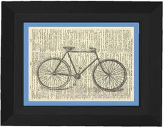 bicycle print on old dictionary paper from 1890!